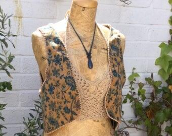 Aladdin Pixie Waistcoat, Paisley Vest, Festival Waistcoat