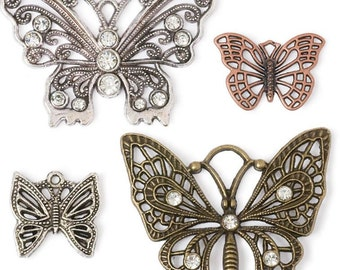 Set of 4 Butterfly Charms, Butterfly pendants, Jewelry Making Supplies, Steampunk Charms