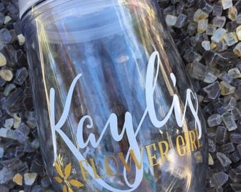 Set of 5, Personalized flower girl tumbler, flower girl cup, junior bridesmaid gifts, flower girl gift