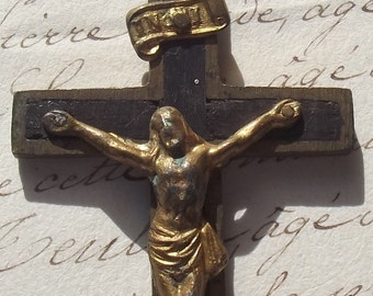 Antique French Priests Cross Wood Brass Christ Rosary Crucifix