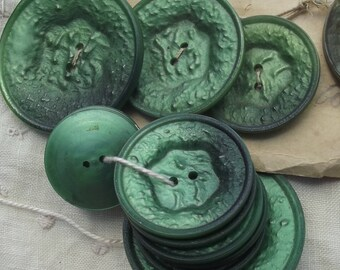 Lot of vintage French Bonbon Green Art Deco Buttons
