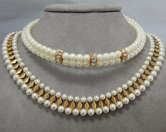Lot of 5 Vintage Fancy Pearl Collar Necklaces Assorted Lengths & Styles Lot 6