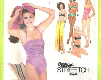 Swimsuit Bikini Pattern and Wrap Cover-Up Simplicity 9002 1970's Vintage Multi-Size 8, 10, 12
