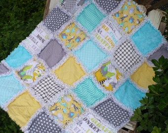 Baby Rag Crib Quilt -Boy or Girl Jungle Safari Playground Elephants Monkeys Zebras Aqua Blue Gray and Yellow Ready to Ship