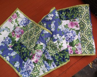 Purple floral quilted table runner handmade quilted table runner