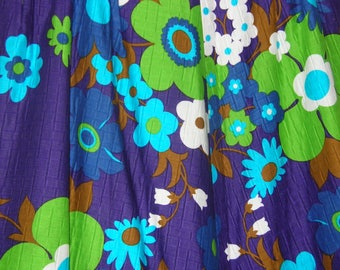 Quilted Flower Print 60s/70s Maxi Wrap Skirt  size 16