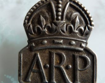 British WW2 Sterling Silver ARP Lapel Badge Hallmarked London England 1936 Historical Militaria