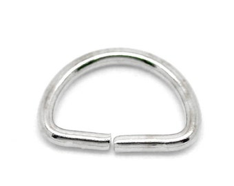 THICK 25 pcs Silver Tone Open Jump Rings - D Rings - 13mmx9mm - 15 Gauge (1.4mm Thick)