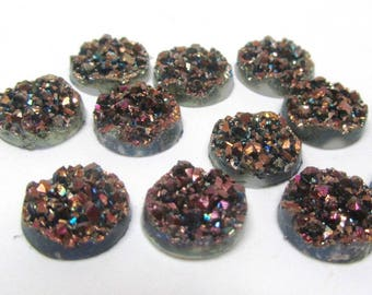 10 pcs Druzy Resin Embellishment Cabochons Multicolor II Dark AB - 12mm (4/8 in)