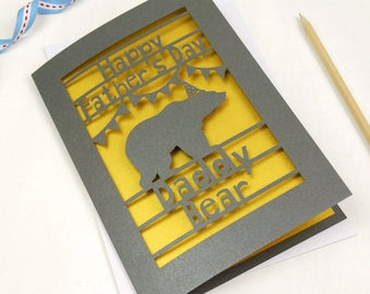 Daddy Bear Papercut Father's Day Card, Laser Cut Dad Card, Daddy Card