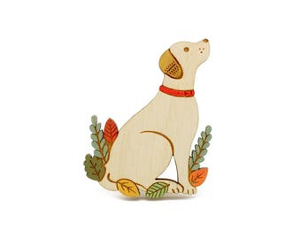 labrador brooch ~ hand painted laser cut dog brooch