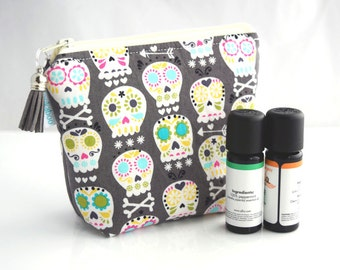 Small Essential Oil Bag - Essential Oil Storage - Skull Bag - Best Friend Gift for Her - Handmade by Zookaboo - Ready to Ship