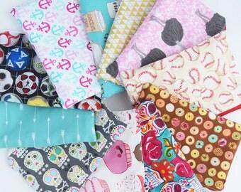 Back to School Supplies - Reusable Snack Bag - Zipper Pouch - Reusable Sandwich Bag - Lunch Bag - YOU Choose Print