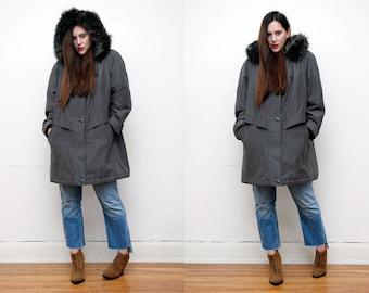 Vintage Real Fox Fur Hood Real Green Khaki Grunge Parka Coat