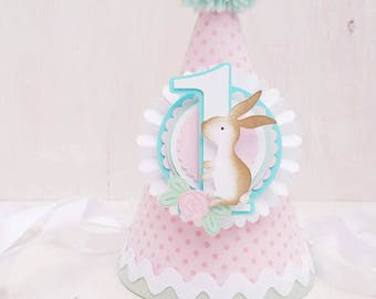 Some-bunny is One Party Hat | Easter Birthday Party | First Birthday | Flowers | Garden Party | Rose | Easter Bunny Pink Hat | Spring Party