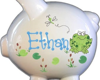 Personalized Piggy Bank with Froggy Design | White | Green | Large | Baby Gift | free Shipping