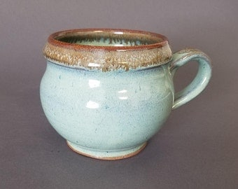 Curvy Wide Bellied Coffee Mug in Speckled Green and Tan