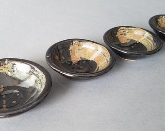 Set of 4 Condiment Dishes Sauce Dipping Bowls Sushi Butter Cream Black Gold Tan Swirl