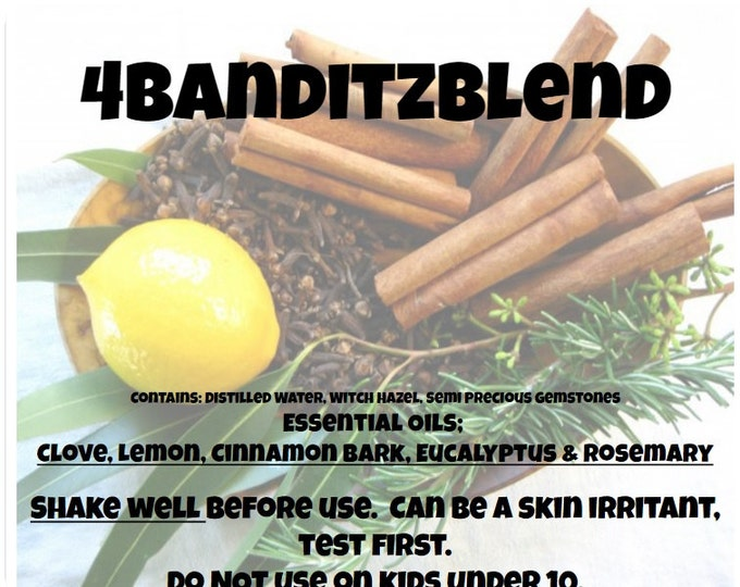 4Banditz Blend 4oz Spray with Clove, Lemon, Cinnamon Bark, Eucalyptus & Rosemary with Semi Precious Gemstones