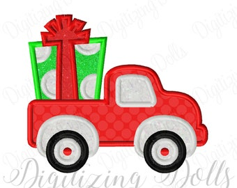 PresentTruck Applique Machine Embroidery Design 5x7 6x10 Christmas Birthday Party INSTANT DOWNLOAD