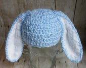 Blue Bunny Hat with Floppy Ears - Size 9 months