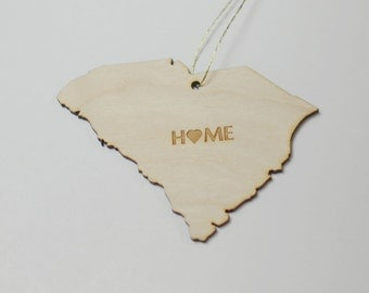Natural Wood HOME South Carolina State Ornament