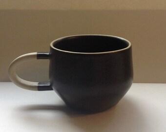 Handmade black matte satin mug