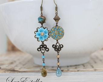 Blue flower earrings Mismatched earrings Blue Asymmetrical Earrings Earthy earrings Woodland earrings Rustic Earrings Ocean earrings - Waves