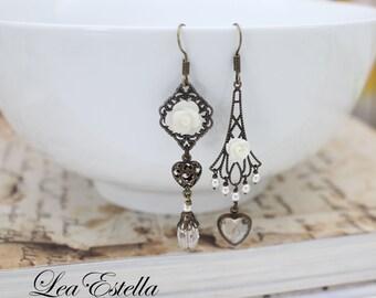 Asymmetrical Earrings Art Deco earrings Victorian earrings Edwardian earrings Old world charm White floral earrings - Romantic Heart