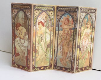 Miniature  Room Screen Art Nouveau Times of the Day by Mucha in 1:12 Scale