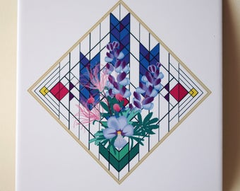 Ceramic tile, ONE Wildflower Impressions decorative wall tile | Wild Lupine, Prairie Smoke, Birdsfoot Violet floral tile, blue flower 1487