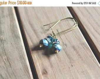 40% OFF CHRISTMAS SALE Matte peacock blue, rhinestone, and glossy peacock blue glass bead drop earrings, kidney wire earrings
