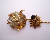 Vintage earrings hair pins - Celestial gold silver beaded cluster collage sun moon stars embellish decorative hair accessories