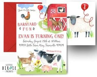 FARM INVITATION Farm Birthday Invitation Farm Animals Invitation Watercolor Farm invitation Farm first birthday Barnyard Cow Horse Lamb Pig