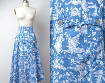 1940s Toile Print Skirt / 40s Novelty Print Skirt