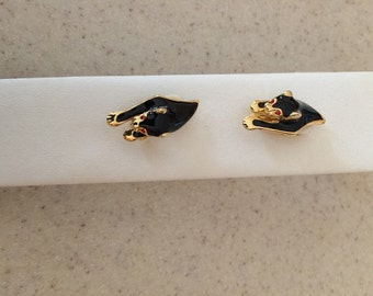 Enamel Panther Earrings - Very Cool Earrings - Especially if you love Cats! Comfortable Clip Ons