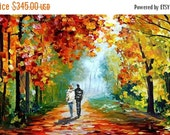 50% off Original painting Canvas painting Oil Painting Landscape Impasto painting Palette Knife Textured Colorful painting red wall 3d ART M