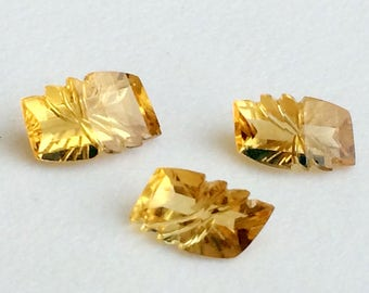 3 Pc Set Citrine Hand Carved Fancy Rectangle Stones, Filigree Finding, Citrine Jewelry, Stone Carving - NPC5