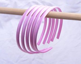 satin headbands, headbands, plain headbands, hair hoop, hair bands, Satin wrapped plastic band, Silk covered plastic headband Wild Rose 10mm