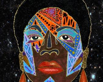 Nina Galactica Enhanced Art Print Nina Simone inspired