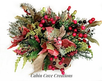 Country Christmas Floral Arrangement Holiday Centerpiece Woodland Rustic Winter Matching Garland Available Custom by Cabin Cove Creationsg