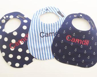 Monogrammed Bib Gift Set - Nautical Gift Set - Anchors - Stripes - Anchor Bib Set - Nautical Gift Set - Baby Shower Gift - Beach Sea Baby