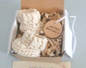 Pregnancy Announcement, Pregnancy Reveal, Grandparents, BOOTIES IN A BOX®, Baby Booties, Adorable Wood Ornament,  Expectant Mom Gift