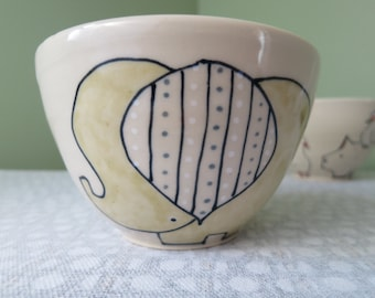 Handmade Ceramic Cereal or Soup Bowl - elephant bowl