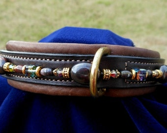 "Custom Dog Collar w/Gemstones; 12""; Brown/Brass"