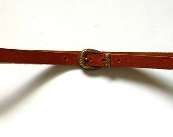 "16027, 3/4"" British bridle embossed vegetable leather belt, Tan"
