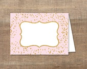 Pink Food Tent Cards, Pink & Gold Glitter Confetti Food Labels, Blank Shower Place Cards, Non Editable, DIY Printable, INSTANT DOWNLOAD