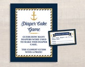 Nautical Diaper Cake Guessing Game, Anchor Navy & Gold, Guess How Many Diapers, Baby Shower Game, DIY Printable, INSTANT DOWNLOAD