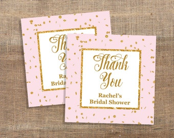 Personalized Favor Tags, Pink & Gold Glitter Confetti Thank You Tags, Bridal, Baby Shower Favor Tags, DIY Printable, PERSONALIZED