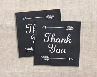 Favor Tags, Chalkboard Arrow Thank You Tags, Square Shower Favor Tags, DIY Printable, INSTANT DOWNLOAD